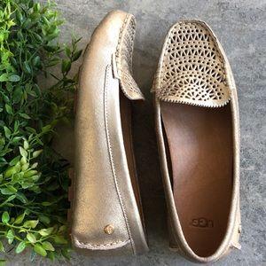 🆕UGG Driving Loafer Gold Metallic
